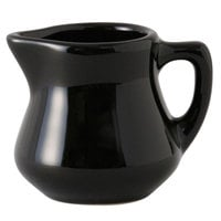 Tuxton BBR-035 DuraTux Black 3.5 oz. China Creamer Pourer - 12/Case