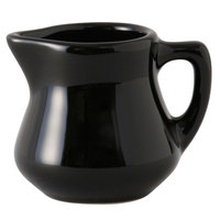 Tuxton BBR-035 DuraTux Black 3.5 oz. China Creamer Pourer 12 / Case