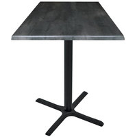Holland Bar Stool OD211-3036BWOD30SQBlkStl 30 inch Square Black Steel Laminate Outdoor / Indoor Counter Height Table with Cross Base
