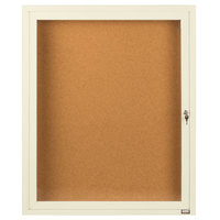 Aarco DCC2418RIV 24 inch x 18 inch Enclosed Hinged Locking 1 Door Powder Coated Ivory Finish Indoor Bulletin Board Cabinet