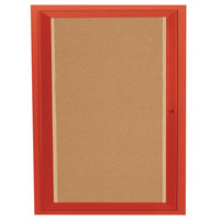 Aarco DCC3630RIR 36 inch x 30 inch Enclosed Hinged Locking 1 Door Powder Coated Red Finish Indoor Lighted Bulletin Board Cabinet