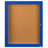 Aarco DCC2418RB 24 inch x 18 inch Enclosed Hinged Locking 1 Door Powder Coated Blue Finish Indoor Bulletin Board Cabinet