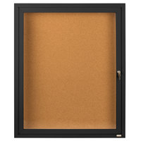 Aarco DCC2418RBK 24 inch x 18 inch Enclosed Hinged Locking 1 Door Powder Coated Black Finish Indoor Bulletin Board Cabinet