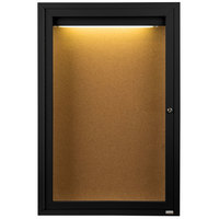 Aarco DCC4836RIBK 48 inch x 36 inch Enclosed Hinged Locking 1 Door Powder Coated Black Finish Indoor Lighted Bulletin Board Cabinet
