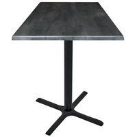 Holland Bar Stool OD211-3042BWOD30SQBlkStl 30 inch Square Black Steel Laminate Outdoor / Indoor Bar Height Table with Cross Base