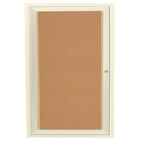Aarco DCC3624RIIV 36 inch x 24 inch Enclosed Hinged Locking 1 Door Powder Coated Ivory Finish Indoor Lighted Bulletin Board Cabinet
