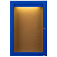 Aarco DCC3624RIB 36 inch x 24 inch Enclosed Hinged Locking 1 Door Powder Coated Blue Finish Indoor Lighted Bulletin Board Cabinet