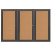 Aarco DCC4896-3RBA 48 inch x 96 inch Enclosed Hinged Locking 3 Door Bronze Anodized Finish Indoor Bulletin Board Cabinet