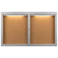 Aarco DCC3660RI 36 inch x 60 inch Enclosed Hinged Locking 2 Door Satin Anodized Finish Indoor Lighted Bulletin Board Cabinet