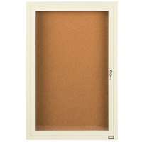Aarco DCC2412RIV 24 inch x 12 inch Enclosed Hinged Locking 1 Door Powder Coated Ivory Finish Indoor Bulletin Board Cabinet