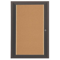 Aarco DCC3624RIBA 36 inch x 24 inch Enclosed Hinged Locking 1 Door Bronze Anodized Finish Indoor Lighted Bulletin Board Cabinet