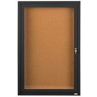 Aarco DCC4836RBK 48 inch x 36 inch Enclosed Hinged Locking 1 Door Powder Coated Black Finish Indoor Bulletin Board Cabinet