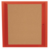 Aarco DCC3636RR 36 inch x 36 inch Enclosed Hinged Locking 1 Door Powder Coated Red Finish Indoor Bulletin Board Cabinet