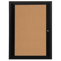 Aarco DCC3630RBK 36 inch x 30 inch Enclosed Hinged Locking 1 Door Powder Coated Black Finish Indoor Bulletin Board Cabinet