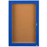 Aarco DCC3624RB 36 inch x 24 inch Enclosed Hinged Locking 1 Door Powder Coated Blue Finish Indoor Bulletin Board Cabinet