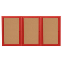 Aarco DCC3672-3RR 36 inch x 72 inch Enclosed Hinged Locking 3 Door Powder Coated Red Finish Indoor Bulletin Board Cabinet