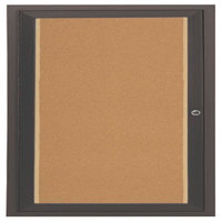 Aarco DCC3636RIBA 36 inch x 36 inch Enclosed Hinged Locking 1 Door Bronze Anodized Finish Indoor Lighted Bulletin Board Cabinet