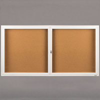 Aarco DCC3672RW 36 inch x 72 inch Enclosed Hinged Locking 2 Door Powder Coated White Finish Indoor Bulletin Board Cabinet