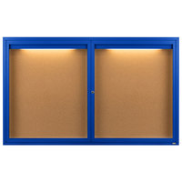 Aarco DCC3660RIB 36 inch x 60 inch Enclosed Hinged Locking 2 Door Powder Coated Blue Finish Indoor Lighted Bulletin Board Cabinet