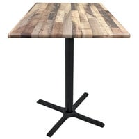 Holland Bar Stool OD211-3042BWOD36SQRustic 36 inch Square Rustic Wood Laminate Outdoor / Indoor Bar Height Table with Cross Base