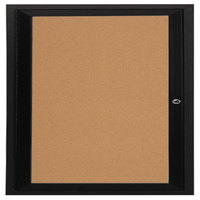 Aarco DCC3636RBK 36 inch x 36 inch Enclosed Hinged Locking 1 Door Powder Coated Black Finish Indoor Bulletin Board Cabinet