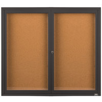 Aarco DCC4860RBA 48 inch x 60 inch Enclosed Hinged Locking 2 Door Bronze Anodized Finish Indoor Bulletin Board Cabinet