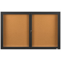 Aarco DCC3660RBK 36 inch x 60 inch Enclosed Hinged Locking 2 Door Powder Coated Black Finish Indoor Bulletin Board Cabinet