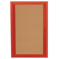 Aarco DCC3624RR 36 inch x 24 inch Enclosed Hinged Locking 1 Door Powder Coated Red Finish Indoor Bulletin Board Cabinet