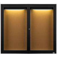 Aarco DCC4860RIBK 48 inch x 60 inch Enclosed Hinged Locking 2 Door Powder Coated Black Finish Indoor Lighted Bulletin Board Cabinet