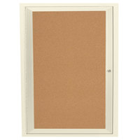 Aarco DCC3630RIV 36 inch x 30 inch Enclosed Hinged Locking 1 Door Powder Coated Ivory Finish Indoor Bulletin Board Cabinet