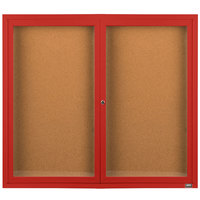 Aarco DCC4860RR 48 inch x 60 inch Enclosed Hinged Locking 2 Door Powder Coated Red Finish Indoor Bulletin Board Cabinet