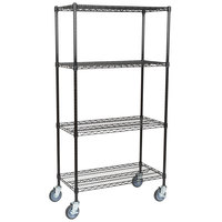Regency 18 inch x 36 inch NSF Black Epoxy Shelf Kit with 64 inch Posts and Casters