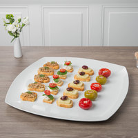 Schonwald 9322345 Event 18 1/4 inch Continental White Coupe Square Porcelain Plate - 2/Case