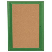 Aarco DCC3630RIG 36 inch x 30 inch Enclosed Hinged Locking 1 Door Powder Coated Green Finish Indoor Lighted Bulletin Board Cabinet