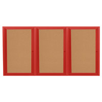 Aarco DCC4872-3RR 48 inch x 72 inch Enclosed Hinged Locking 3 Door Powder Coated Red Finish Indoor Bulletin Board Cabinet