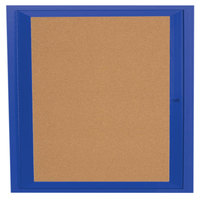 Aarco DCC3636RB 36 inch x 36 inch Enclosed Hinged Locking 1 Door Powder Coated Blue Finish Indoor Bulletin Board Cabinet