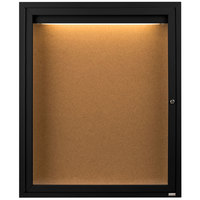 Aarco DCC3630RIBK 36 inch x 30 inch Enclosed Hinged Locking 1 Door Powder Coated Black Finish Indoor Lighted Bulletin Board Cabinet