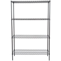 Regency 18 inch x 48 inch NSF Black Epoxy Shelf Kit with 74 inch Posts