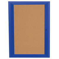 Aarco DCC3630RB 36 inch x 30 inch Enclosed Hinged Locking 1 Door Powder Coated Blue Finish Indoor Bulletin Board Cabinet