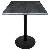 Holland Bar Stool OD214-2230BWOD30SQBlkStl 30 inch Square Black Steel Laminate Outdoor / Indoor Standard Height Table with Round Base