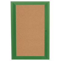 Aarco DCC3624RG 36 inch x 24 inch Enclosed Hinged Locking 1 Door Powder Coated Green Finish Indoor Bulletin Board Cabinet