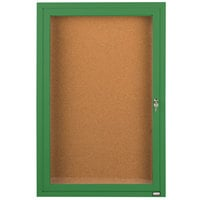 Aarco DCC3624RG 36 inch x 24 inch Enclosed Hinged Locking 1 Door Powder Coated Green Finish Indoor Bulletin Board Cabinet
