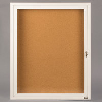 Aarco DCC2418RW 24 inch x 18 inch Enclosed Hinged Locking 1 Door Powder Coated White Finish Indoor Bulletin Board Cabinet