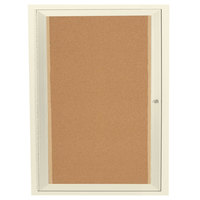Aarco DCC3630RIIV 36 inch x 30 inch Enclosed Hinged Locking 1 Door Powder Coated Ivory Finish Indoor Lighted Bulletin Board Cabinet
