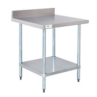 Regency 18 Gauge 30 inch x 30 inch 304 Stainless Steel Commercial Work Table with 4 inch Backsplash and Undershelf