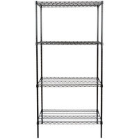 Regency 24 inch x 36 inch NSF Black Epoxy Shelf Kit with 74 inch Posts