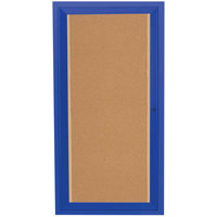 Aarco DCC2418RIB 24 inch x 18 inch Enclosed Hinged Locking 1 Door Powder Coated Blue Finish Indoor Lighted Bulletin Board Cabinet
