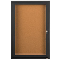 Aarco DCC2412RBK 24 inch x 12 inch Enclosed Hinged Locking 1 Door Powder Coated Black Finish Indoor Bulletin Board Cabinet