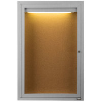 Aarco DCC3624RI 36 inch x 24 inch Enclosed Hinged Locking 1 Door Satin Anodized Finish Indoor Lighted Bulletin Board Cabinet