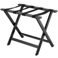 Lancaster Table & Seating 24 1/2 inch x 15 inch x 20 inch Black Wood Folding Luggage Rack